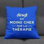 Airsoft est moins cher que la thérapie - Coussin Décor - Bleu Royale de la marque image 1 produit