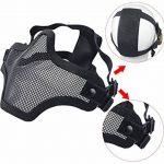 Coofit Masque Airsoft paintball 2 PCS Demi Masque Outdoor maille inox et lunettes de protection Masque métal extérieure (Noir 1, One size) de la marque image 2 produit