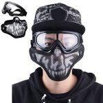 Coofit Masque Airsoft paintball 2 PCS Demi Masque Outdoor maille inox et lunettes de protection Masque métal extérieure (Noir Blanc) de la marque image 1 produit