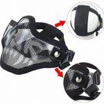 Coofit Masque Airsoft paintball 2 PCS Demi Masque Outdoor maille inox et lunettes de protection Masque métal extérieure (Noir Blanc) de la marque image 2 produit