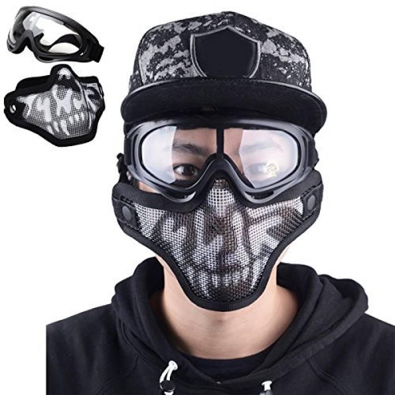 airsoft et jeux de guerre Taille unique Camouflage-Black Demi-masque de protection en maille m/étallique pour utilisation g/én/érale jeux de tactique
