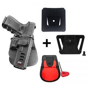 Fobus kit rotating roto paddle trigger guard lock tactical saftey retention holster + belt attachment + 6cm police wide duty belt adapter for Glock 17, 19, 22, 23, 31, 32, 34, 35 de la marque image 0 produit