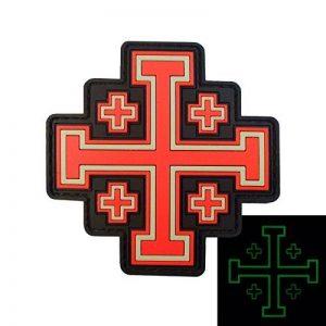 Glow Dark Order Holy Sepulchre Jerusalem Cross Templar Crusaders Tactical Morale PVC Hook-and-Loop Écusson Patch de la marque image 0 produit