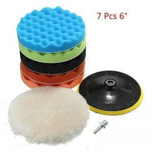 """Happyit 7 Pcs Disque de Polissage de voiture Laine de Polissage Roue Car Beauty Waxing Sponge Plate + Coussin de laine + M14 Kit de forage (6"""") de la marque image 0 produit"""