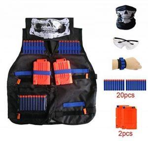 Locisne Kids Jungle Camouflage Tactical Vest Jacket Kit pour Nerf Toy Gun N-Strike Elite Series (avec 20pcs dards en mousse + Lunettes de protection Lunettes + Masque de crâne sans couture + 2Pcs 6-dart Quick Reload Clip + 1Pcs 8-dart poignet) de la marqu image 0 produit