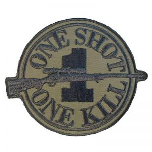 Olive Drab Green Sew/Iron on Écusson Patch Sniper Morale ONE SHOT ONE KILL Camo Uniform BDU de la marque image 0 produit