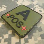 Olive Drab OD Green APOS A+ Groupe Sanguin Tactical Combat PVC Gomme 3D Fastener Écusson Patch de la marque image 2 produit