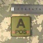 Olive Drab OD Green APOS A+ Groupe Sanguin Tactical Combat PVC Gomme 3D Fastener Écusson Patch de la marque image 3 produit
