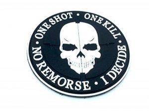 One Shot One Kill No Remorse I Decide Sniper Noir PVC Airsoft Patch de la marque image 0 produit