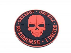 One Shot One Kill No Remorse I Decide Sniper Rouge PVC Airsoft Patch de la marque image 0 produit