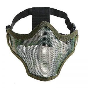 Pixnor CM01 Metal Mesh demi visage masque masque de protection avec bandeau pour les Sports de plein air de chasse tactique (vert armée) de la marque image 0 produit