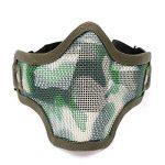 Pixnor CM01 Metal Mesh demi visage masque masque de protection avec bandeau pour les Sports de plein air de chasse tactique (vert armée) de la marque image 1 produit