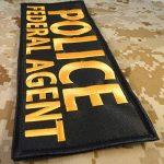 POLICE FEDERAL AGENT Large XL 10x4 inch SWAT Tactical Brodé Broderie Touch Fastener Écusson Patch de la marque image 1 produit